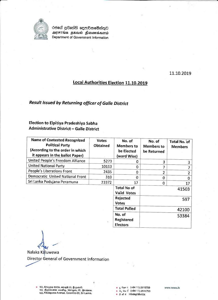 Elpitiya Pradeshiya Sabha Results page 001